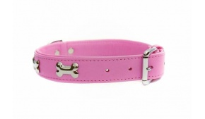 pink-leather-bones-dog-collar