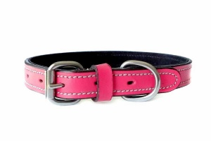 fiesta-pink-leather-collar