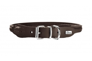 round-soft-elk-leather-dog-collar-brown